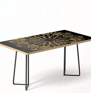 Golden Bee Mandala coffee table dark dec