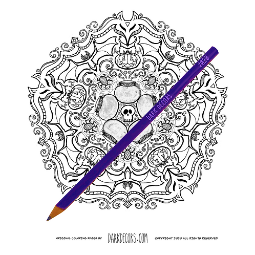 Dark Decors Coloring Book Page (Halloween)