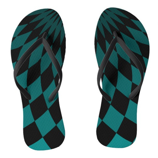 Flip Flops - Wonderland Floor Turquoise by Dark Decors