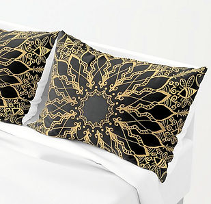 golden bee mandala pillow shams bedroom