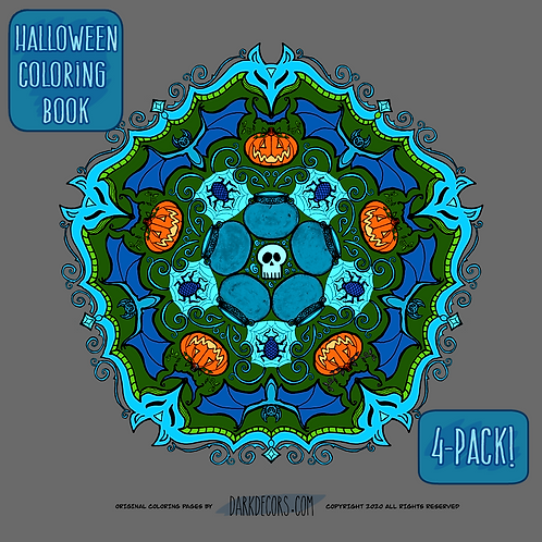 Dark Decors Halloween Themed 4-Pack Coloring Book