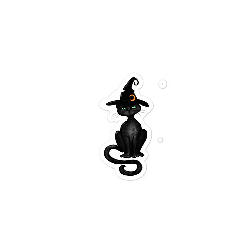 Bubble-free Stickers Black Cat with Witch Hat