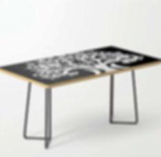 table, coffee, zen den tree, half moons,