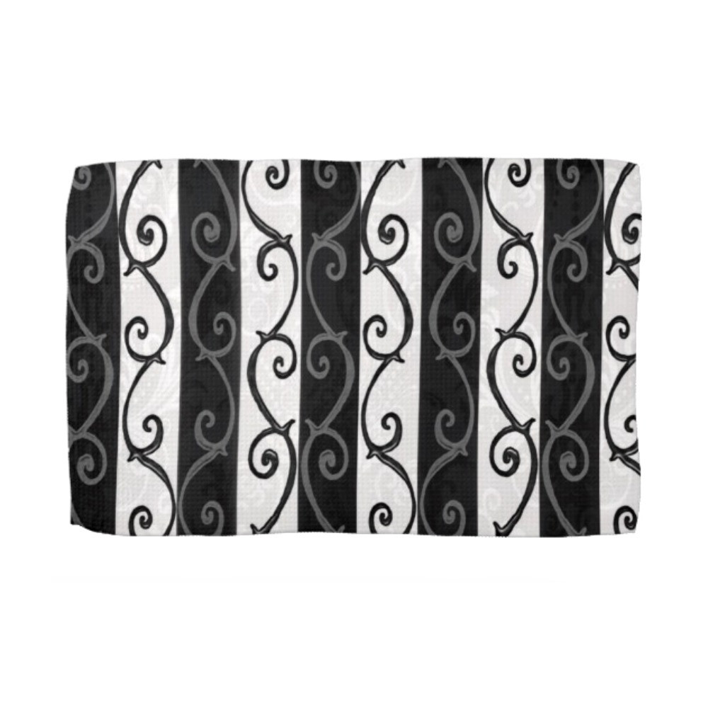 Kitchen Towel - Burtonesque Stripes and Swirls by Dark Decors