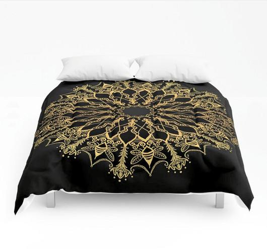 Golden bee mandala comforter black gold