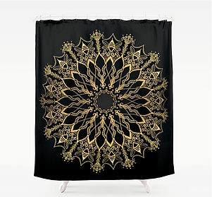 golden bee mandala shower curtain bathro
