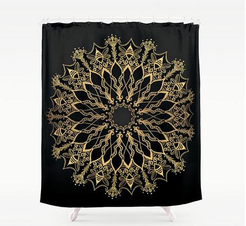 golden bee mandala shower curtain bathro