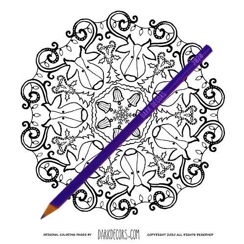 Dark Decors Coloring Book Page ( Reindeer