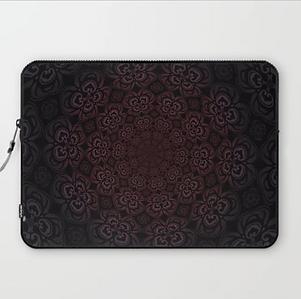 laptop sleeve, pure evil pansies, dark d