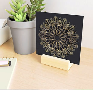 Golden Bee Mandala print with wooden sta