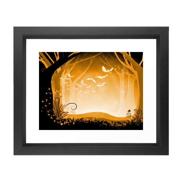 Framed Art Prints Dark Forest at Dawn in Amber