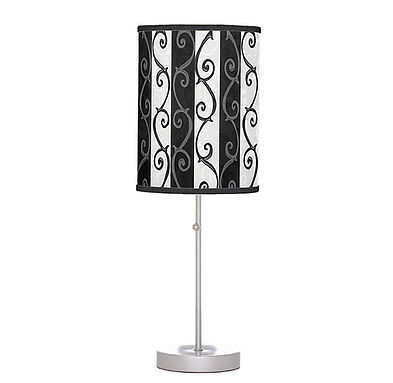 table lamp, black, white, stripes, swirl