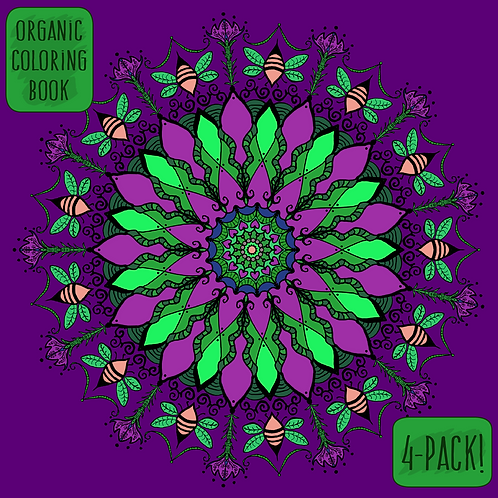 Dark Decors Organic Themed 4-Pack Coloring Book