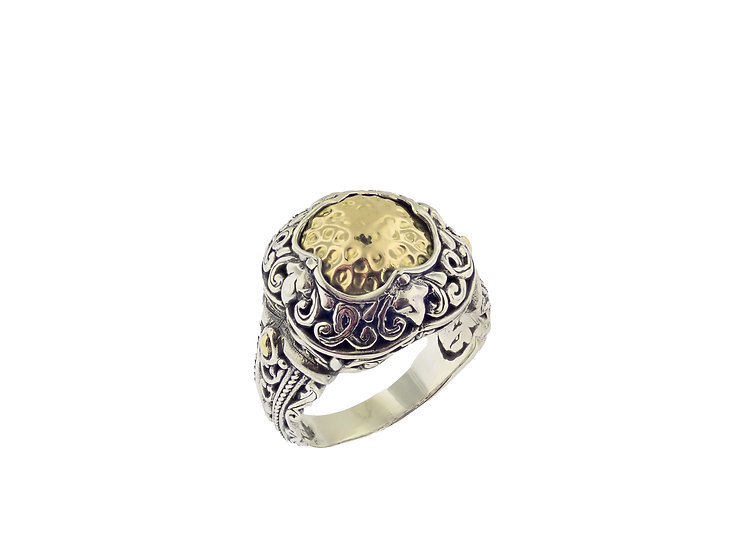 Sterling Silver and 18KT yellow gold Balinese design ring