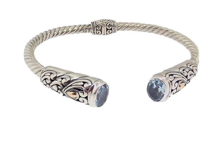 Sterling Silver and 18KT Yellow Gold Blue Topaz Balinese Style Bangle Bracelet