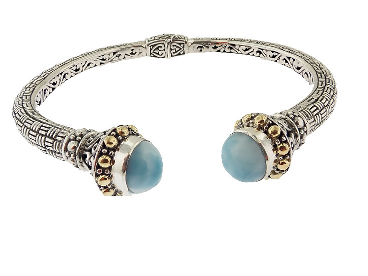 Sterling Silver and 18KT Yellow Gold Larimar  Balinese Style Bangle Bracelet