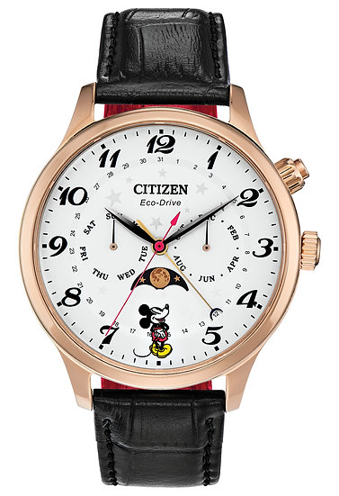 Citizen Eco-Drive® Mickey Mouse Moon Phase Rose-Tone Strap Watch with White Dial