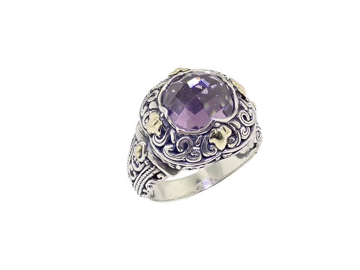 Sterling Silver and 18KT yellow Gold Amethyst Balinese style Ring