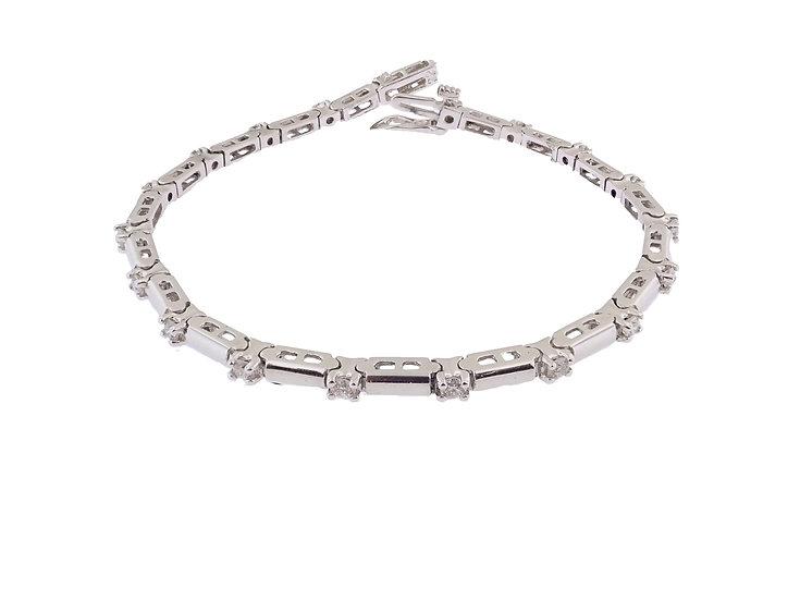 14KT white gold Bar link Diamond Tennis Bracelet