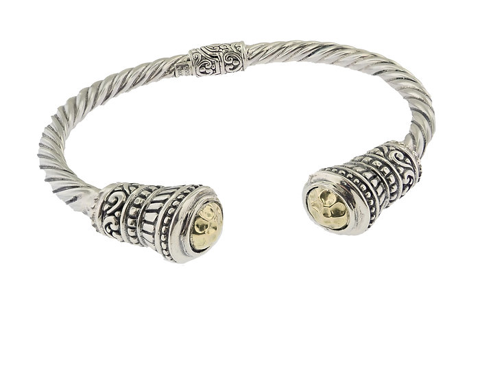 Sterling Silver and 18KT Yellow Gold  Balinese Style Bangle Bracelet