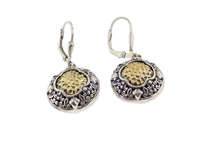 Sterling Silver and 18KT yellow gold Balinese Style Dangle Earrings