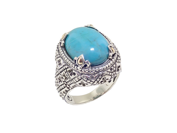Sterling Silver Turquoise Balinese style Ring