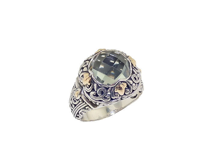 Sterling Silver and 18KT yellow gold Green Quartz Balinese style Ring