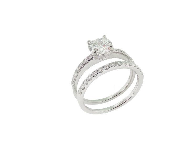18KT white gold Diamond Engagement and Wedding Set