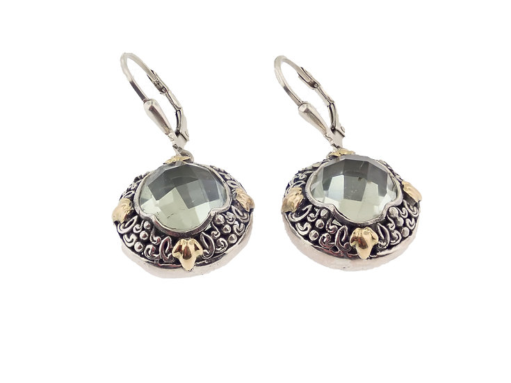 Sterling Silver and 18KT yellow gold Green Quartz Balinese Style Dangle Earrings
