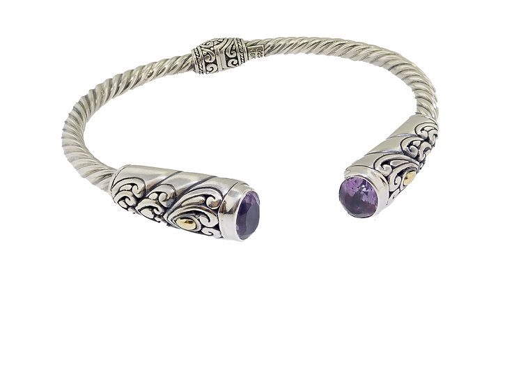 Sterling Silver and 18KT Yellow Gold Amethyst Balinese Style Bangle Bracelet