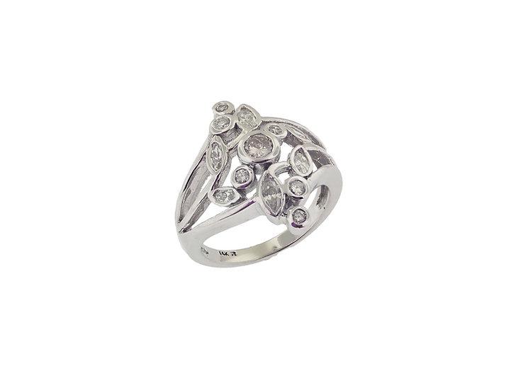14KT white gold ladies diamond low profile Fashion Diamond ring