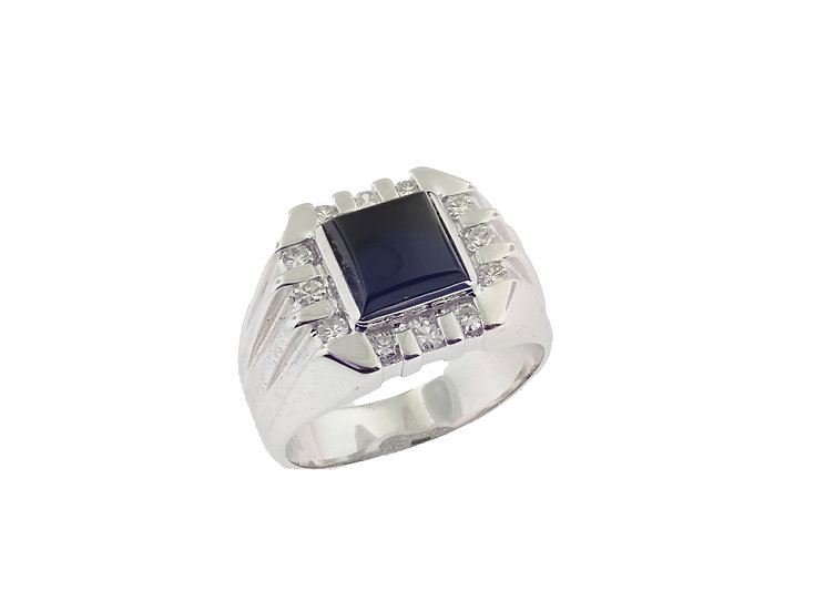 14KT white gold Custom Designed Gents Onyx and Diamond ring