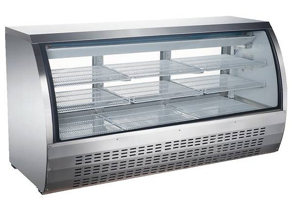 "ELIA 82"" Curved Glass Refrigerated Deli Display Case - Rear Door Access"
