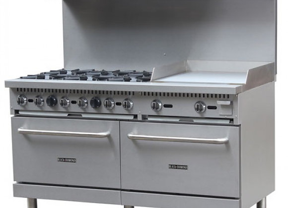 "60"" 6 BURNER GAS RANGE WITH 24"" GRIDDLE & 2 STANDARD OVENS COMBO"