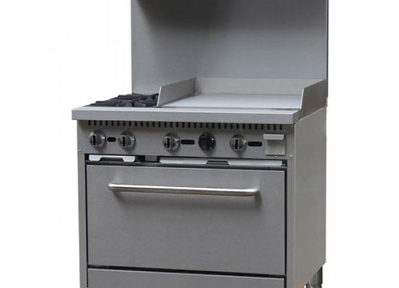 "36"" Gas Range, (2) Open Burners with 24"" Right Griddle and (1) 26-1/2"" Oven"