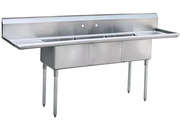 """90"""" STAINLESS STEEL COMMERCIAL 3 COMPARTMENT SINK WITH 2 DRAINBOARDS"""