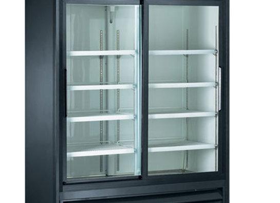 """Sliding 2 Glass Door 53"""" Merchandiser Refrigerator - 2 Door, Black"""