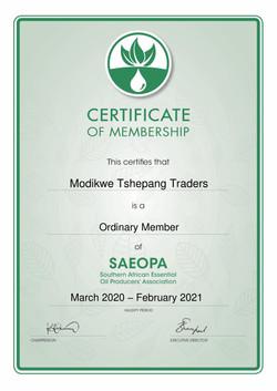 Modikwe Tshepang Traders SAEOPA certific