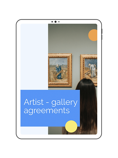 E-book to download with an image of a girl observing 2 paintings.