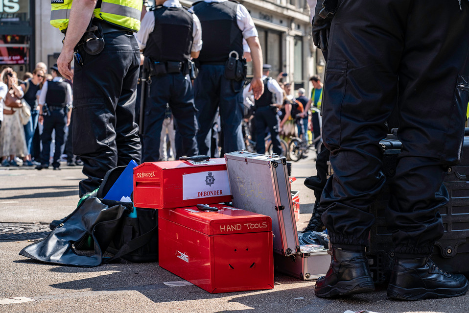 Specialist police equipment used to clear protestors from Oxford Circus