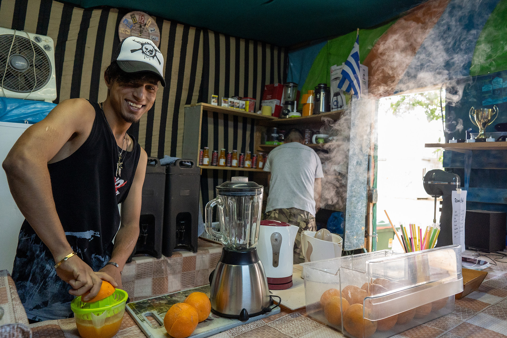 A temporary cafe set up in Ritsona refugee camp, Greece