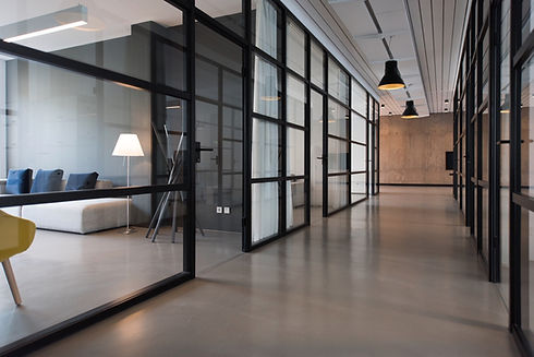Interior windows of an office. Prime candidate for privacy enhancing decorative window film.