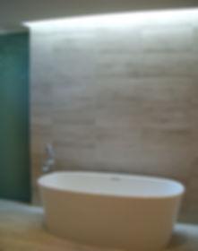 Master bath tub with skylight above