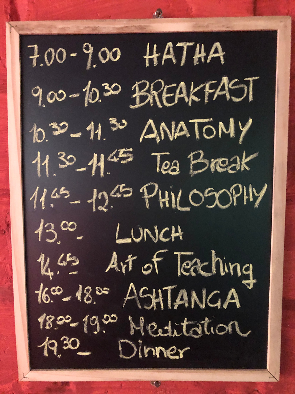 Yoga School timetable
