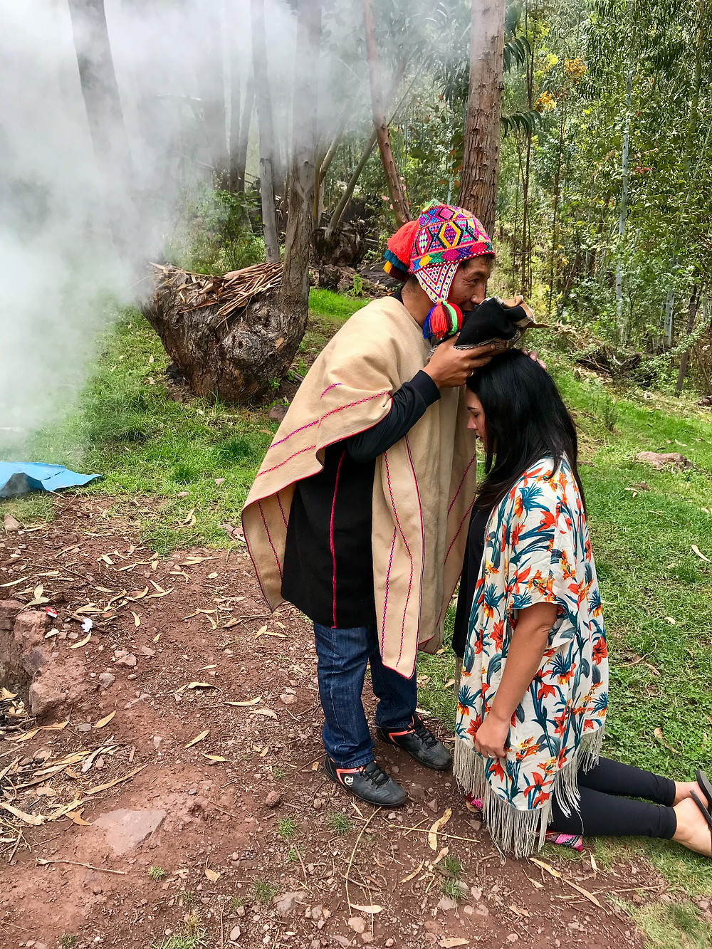Andean Priest performing Pachamama ceremony in Cusco