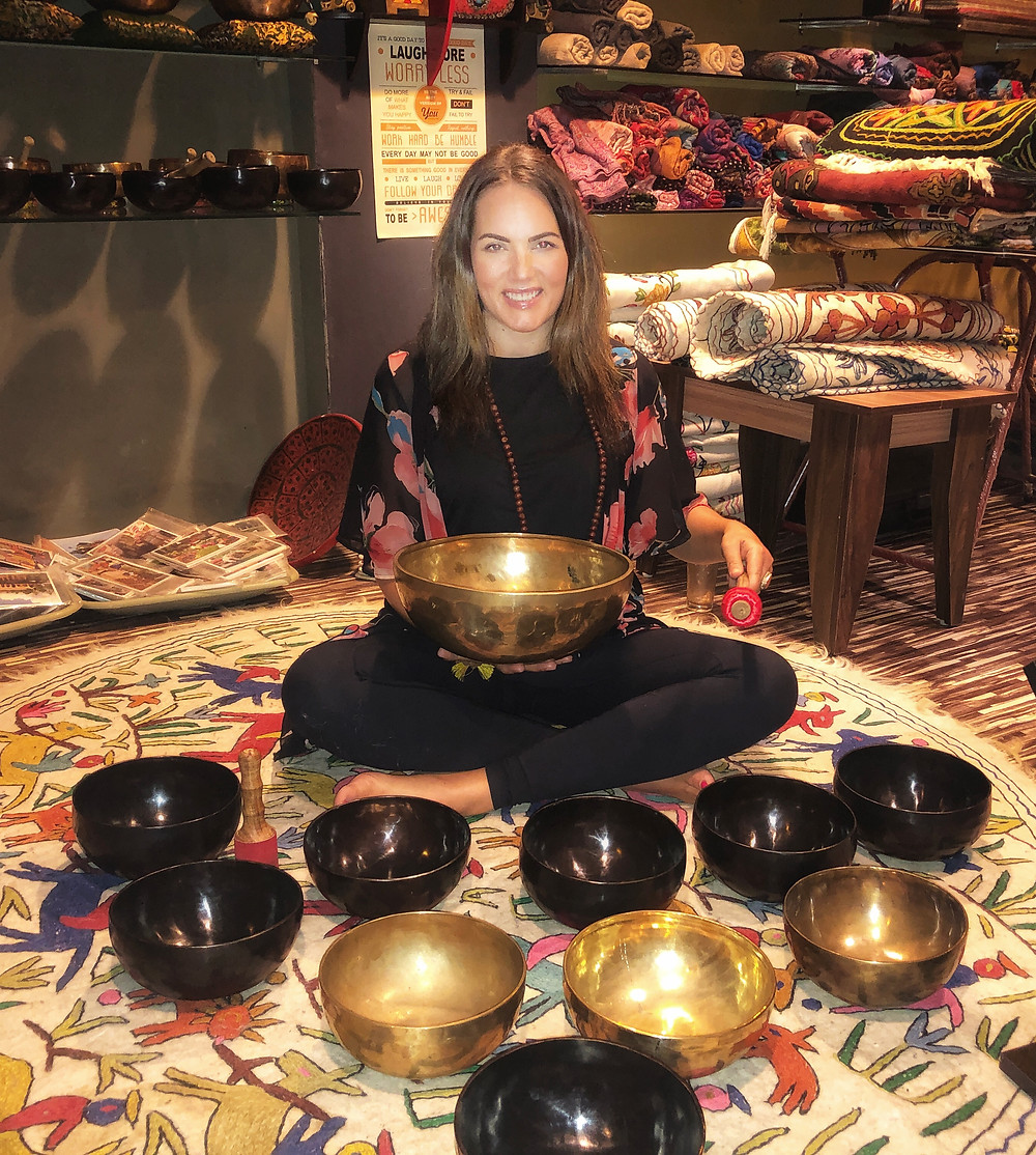 Shelley playing singing bowls