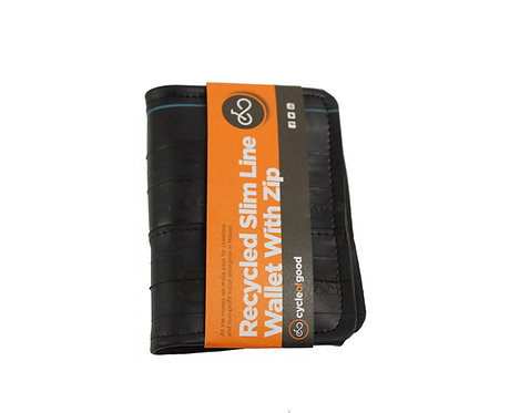 Cycle of Good - Recycled inner tube slimline wallet with coin zip pocket