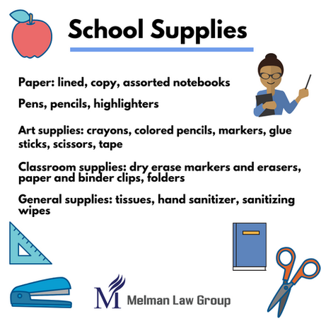 Melman Law Group's  Back to School Supply Drive!