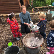 Camp fire cooking together