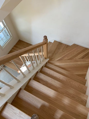 new oak stair with bona water based finish